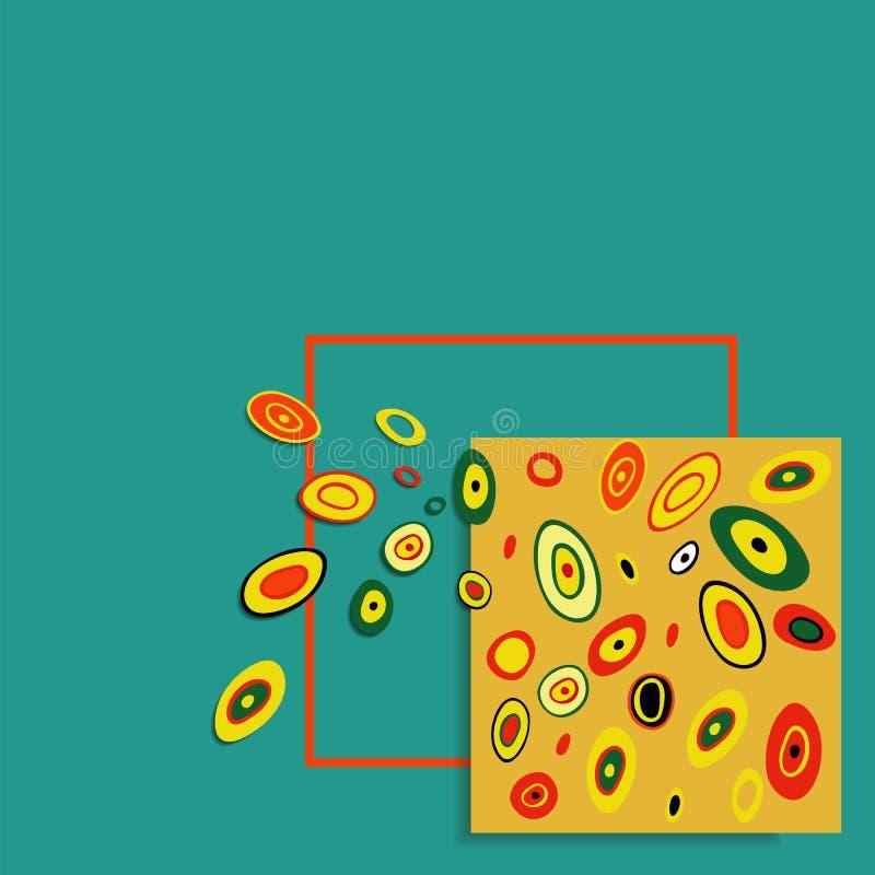 αφηρημένο διάνυσμα ανασκόπ& Τετράγωνο, πλαίσιο και πετώντας στοιχεία χρώματος διανυσματική απεικόνιση