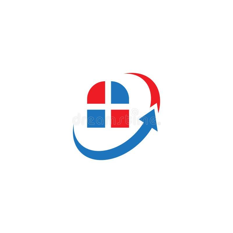 Αφηρημένο διάνυσμα βελών swoosh λογότυπων ακίνητων περιουσιών παραθύρων διανυσματική απεικόνιση