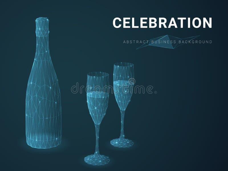 Αφηρημένο διάνυσμα επιχειρησιακού υποβάθρου που απεικονίζει τον εορτασμό με τις γραμμές στη μορφή μιας σαμπάνιας με δύο γυαλιά στ ελεύθερη απεικόνιση δικαιώματος