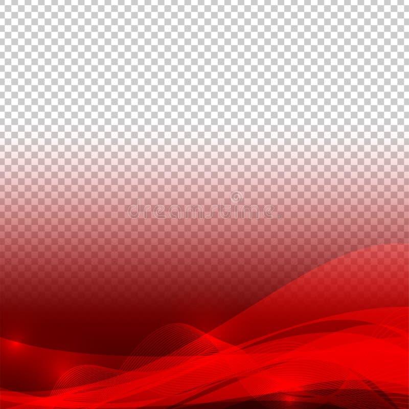 Αφηρημένο διάνυσμα κόκκινου χρώματος στοιχείων κυμάτων με το διαφανές υπόβαθρο ελεύθερη απεικόνιση δικαιώματος
