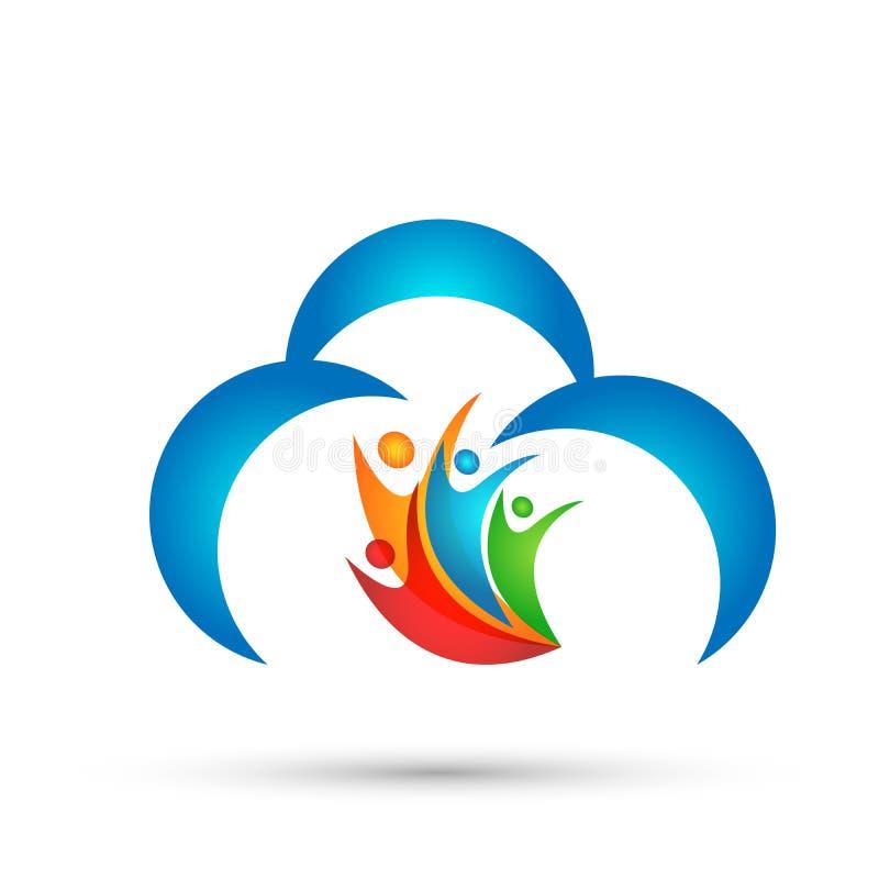 Αφηρημένο διάνυσμα σχεδίου εικονιδίων συμβόλων έννοιας εορτασμού wellness ένωσης εργασίας ομάδων ανθρώπων σύννεφων στο άσπρο υπόβ απεικόνιση αποθεμάτων