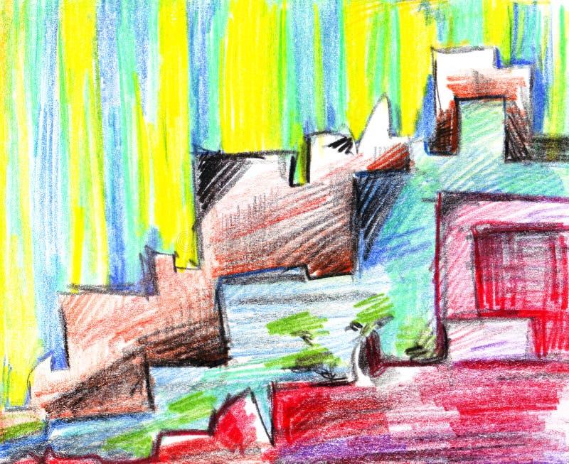 Αφηρημένο διαγώνιο ατημέλητο πολύχρωμο σχέδιο με τις αντιπαραβαλλόμενες στέγες των φωτεινών χρωματισμένων σπιτιών σε μια οδό μιας απεικόνιση αποθεμάτων