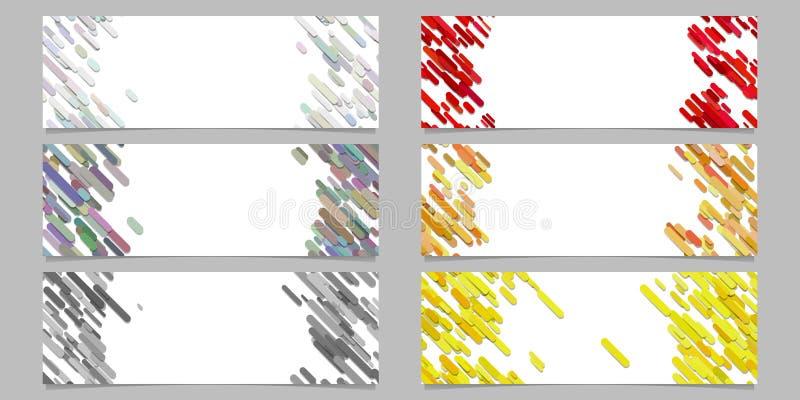 Αφηρημένο διαγώνιο στρογγυλευμένο σύνολο σχεδίου προτύπων εμβλημάτων σχεδίων λωρίδων απεικόνιση αποθεμάτων
