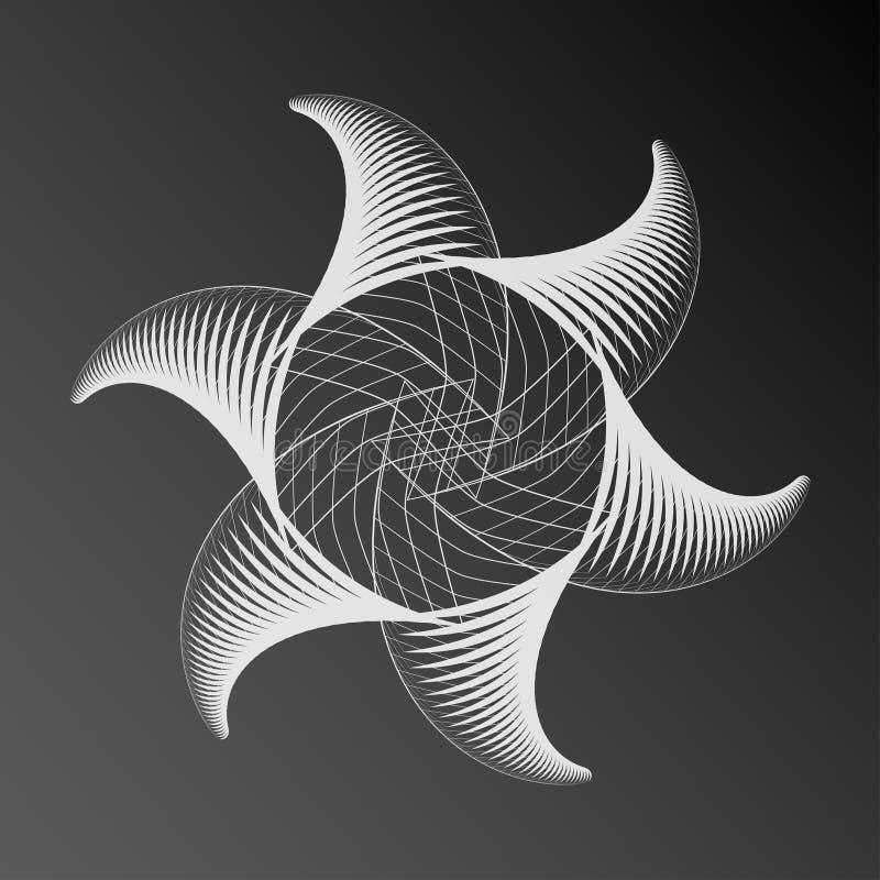 Αφηρημένο διακοσμητικό στοιχείο αστεριών spirograph διανυσματική απεικόνιση