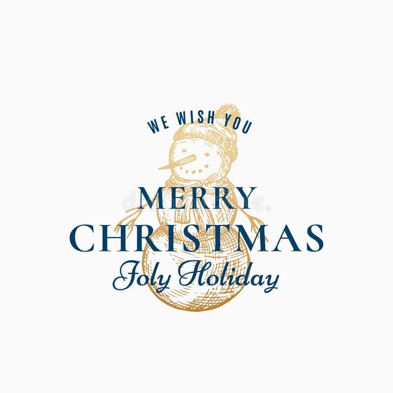 Αφηρημένο διανυσματικό αναδρομικό ετικέτα Χαρούμενα Χριστούγεννας, σημάδι ή πρότυπο καρτών Συρμένο χέρι χρυσό σκίτσο χιονανθρώπων διανυσματική απεικόνιση