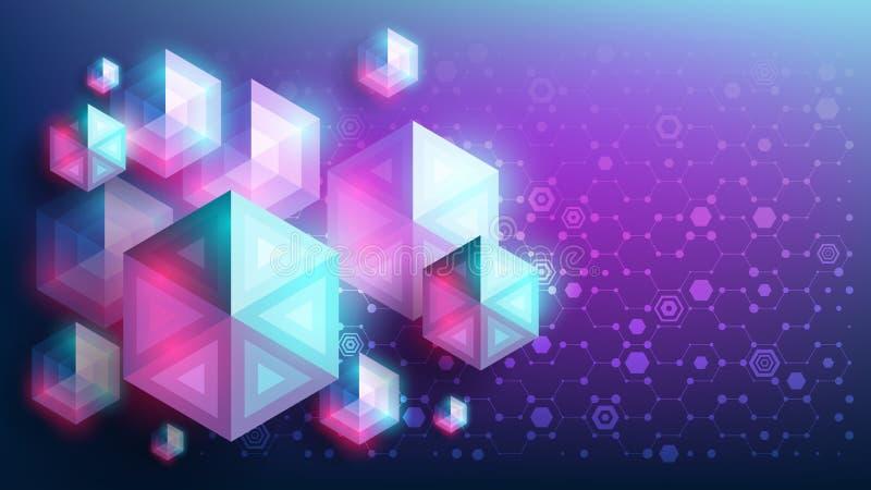 Αφηρημένο διανυσματικό γεωμετρικό υπόβαθρο Ζωηρόχρωμα hexagons πυράκτωσης με μορφή των διαμαντιών διανυσματική απεικόνιση