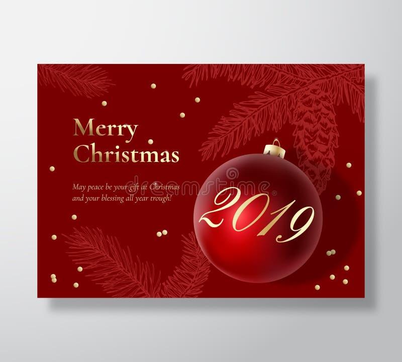 Αφηρημένο διανυσματικό ευχετήρια κάρτα Χαρούμενα Χριστούγεννας, αφίσα ή υπόβαθρο διακοπών Τα αριστοκρατικά κόκκινα και χρυσά χρώμ απεικόνιση αποθεμάτων