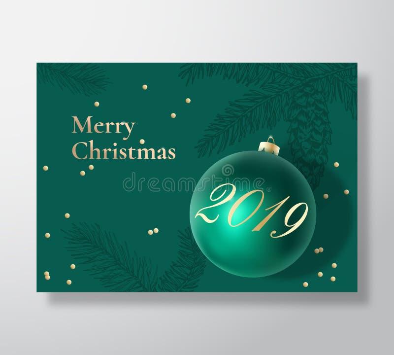 Αφηρημένο διανυσματικό ευχετήρια κάρτα Χαρούμενα Χριστούγεννας, αφίσα ή υπόβαθρο διακοπών Τα αριστοκρατικά πράσινα και χρυσά χρώμ διανυσματική απεικόνιση