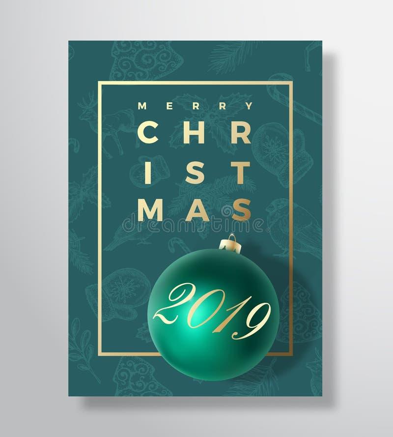 Αφηρημένο διανυσματικό ευχετήρια κάρτα Χαρούμενα Χριστούγεννας, αφίσα ή υπόβαθρο διακοπών Τα αριστοκρατικά πράσινα και χρυσά χρώμ ελεύθερη απεικόνιση δικαιώματος
