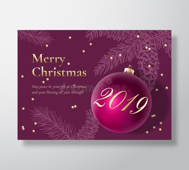 Αφηρημένο διανυσματικό ευχετήρια κάρτα Χαρούμενα Χριστούγεννας, αφίσα ή υπόβαθρο διακοπών Τα αριστοκρατικά πορφυρά και χρυσά χρώμ διανυσματική απεικόνιση