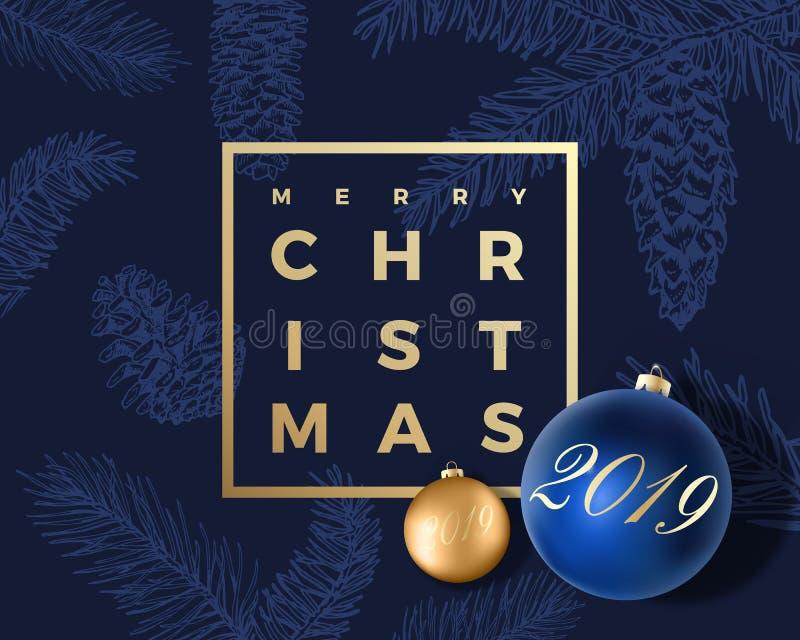 Αφηρημένο διανυσματικό ευχετήρια κάρτα Χαρούμενα Χριστούγεννας, αφίσα ή υπόβαθρο διακοπών Τα αριστοκρατικά μπλε και χρυσά χρώματα απεικόνιση αποθεμάτων