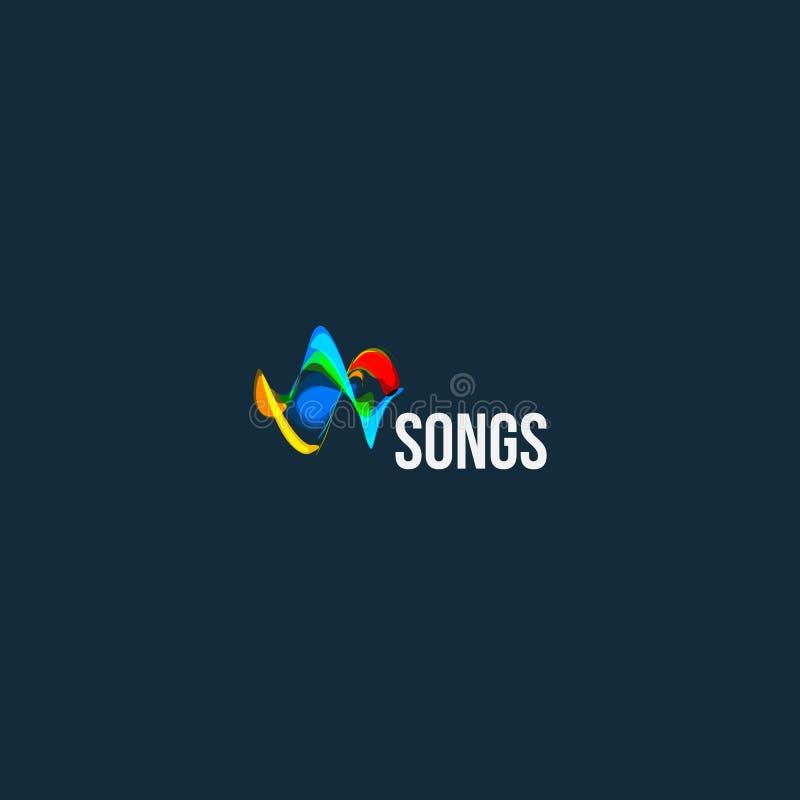 Αφηρημένο διανυσματικό λογότυπο τραγουδιών Ακουστικό εικονίδιο σχεδίου κυμάτων Πρότυπο παιχνιδιού μουσικής logotype Στοιχείο σχεδ διανυσματική απεικόνιση