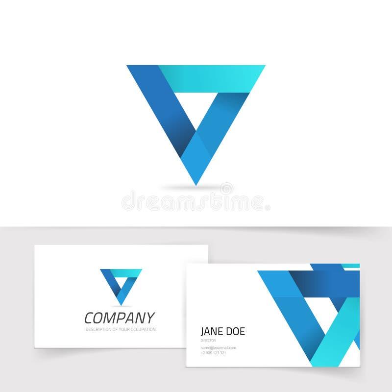 Αφηρημένο διανυσματικό λογότυπο τριγώνων, μπλε κλίσης σύμβολο γεωμετρίας πρισμάτων logotype απομονωμένο, σύγχρονο καθιερώνον τη μ απεικόνιση αποθεμάτων