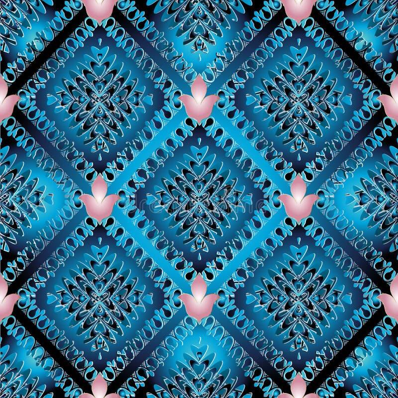 Αφηρημένο διανυσματικό μπλε άνευ ραφής σχέδιο Σύγχρονο υπόβαθρο wallpap διανυσματική απεικόνιση