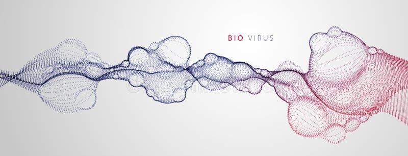 Αφηρημένο διανυσματικό ρέοντας ευρύ υπόβαθρο ταπετσαριών Βιολογική μεταλλαγή, μικροσκοπικός ιός, διαστιγμένη μορφή μορίων, νανο τ διανυσματική απεικόνιση