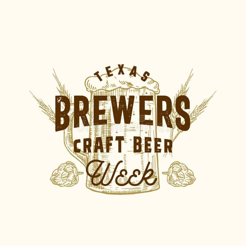 Αφηρημένο διανυσματικό σημάδι εβδομάδας μπύρας τεχνών ζυθοποιών, σύμβολο ή πρότυπο λογότυπων Συρμένοι χέρι λυκίσκοι και κούπα με  διανυσματική απεικόνιση