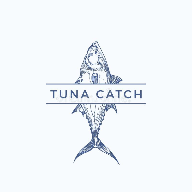 Αφηρημένο διανυσματικό σημάδι σύλληψης τόνου, σύμβολο ή πρότυπο λογότυπων Συρμένα χέρι ψάρια τόνου με την αριστοκρατική τυπογραφί διανυσματική απεικόνιση