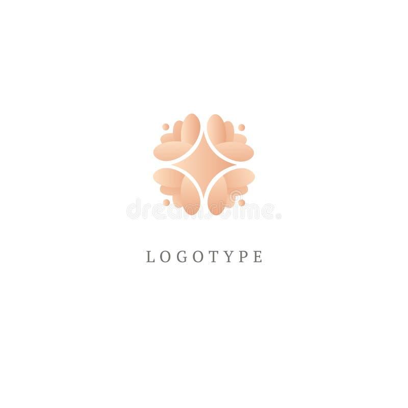 Αφηρημένο διανυσματικό σχέδιο εικονιδίων λογότυπων καταστημάτων λουλουδιών Καλλυντικά, SPA, διανυσματικό λογότυπο μπουτίκ διακοσμ διανυσματική απεικόνιση