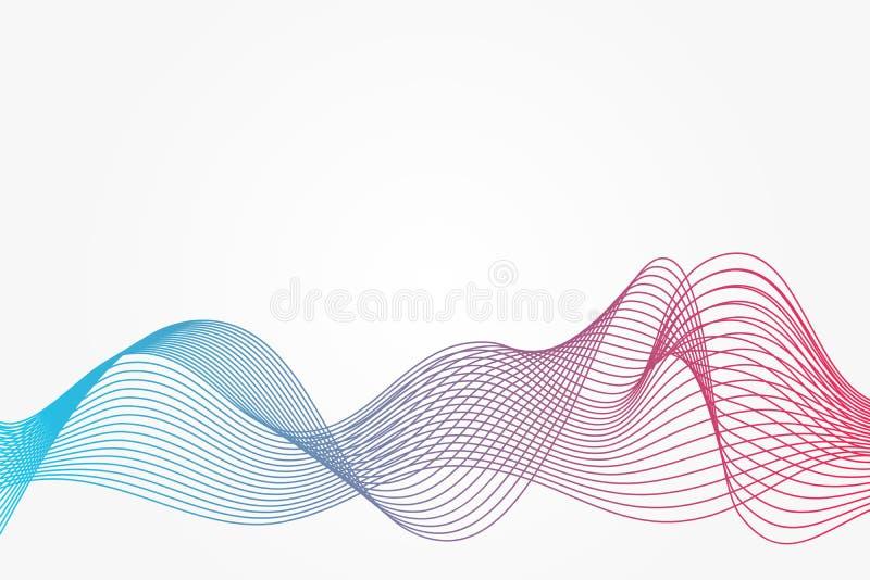 Αφηρημένο διανυσματικό σχέδιο καμπυλών Μπλε και κόκκινο υπόβαθρο κυμάτων κλίσης Απεικόνιση μίγματος για το σχέδιο, διακόσμηση, Ισ ελεύθερη απεικόνιση δικαιώματος