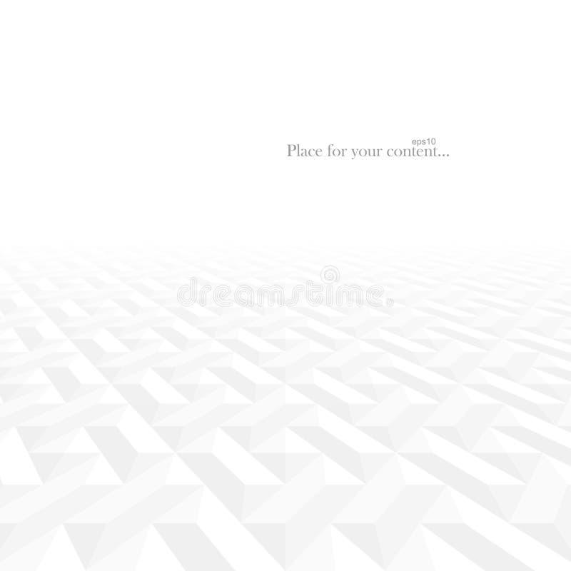 Αφηρημένο διανυσματικό σύγχρονο υπόβαθρο χαμηλού φωτός με την προοπτική Άσπρες και γκρίζες γεωμετρικές μορφές - σύσταση κεραμιδιώ διανυσματική απεικόνιση