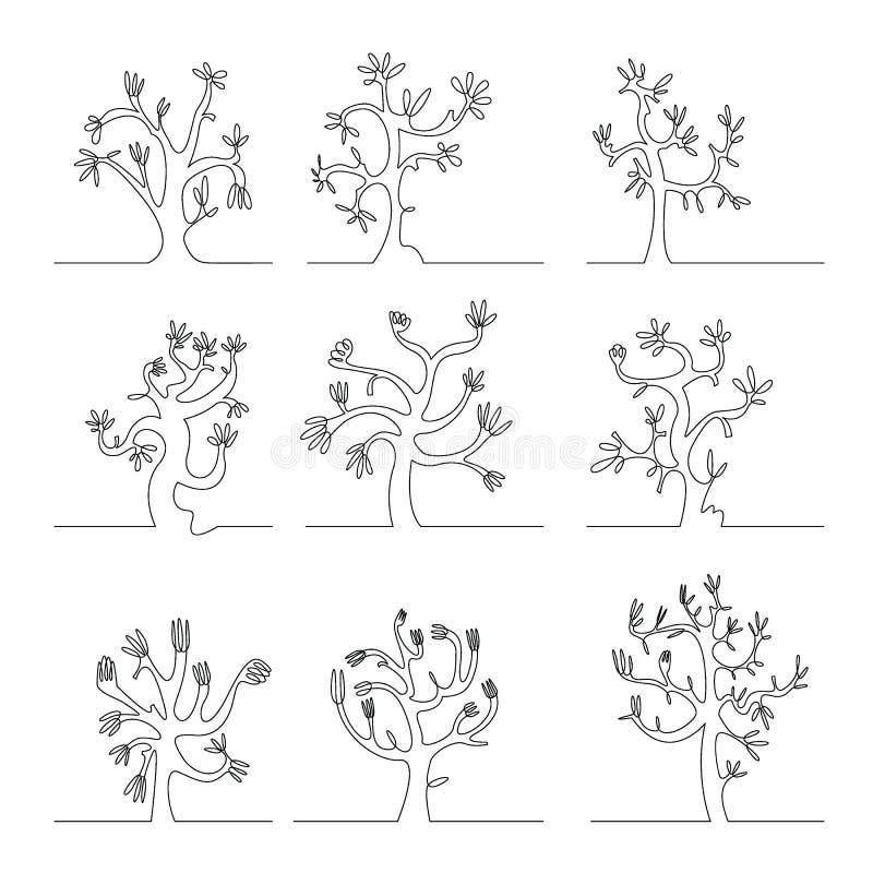 Αφηρημένο διανυσματικό σύνολο γραμμών δέντρων συνεχές διανυσματική απεικόνιση