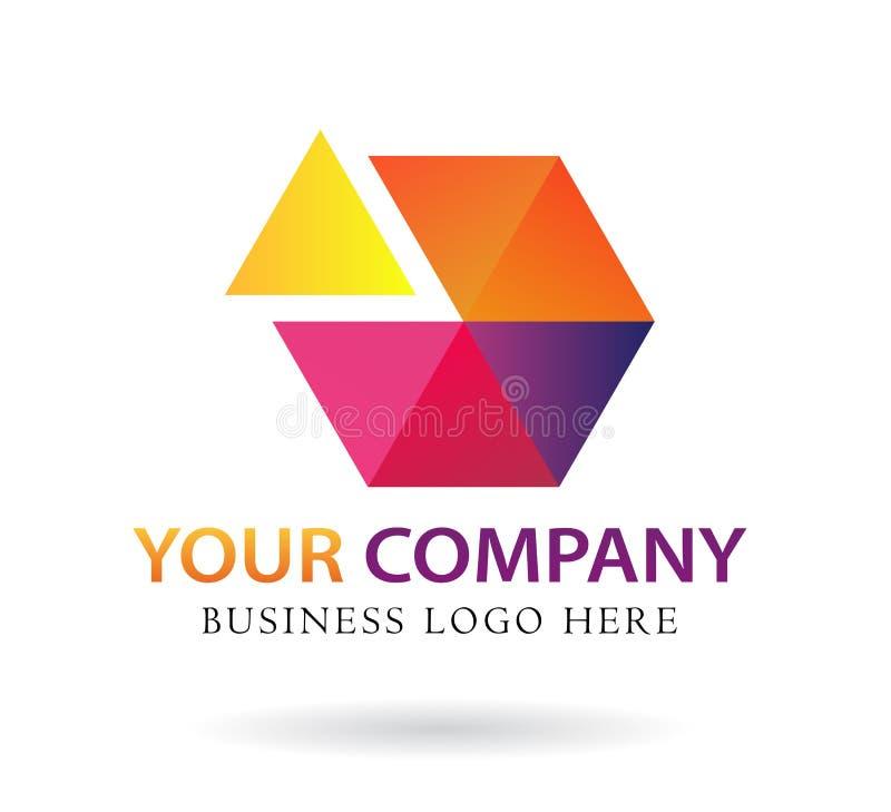 Αφηρημένο διανυσματικό τρίγωνο έξι χρώματος μέρη σχεδίου λογότυπων απεικόνιση αποθεμάτων