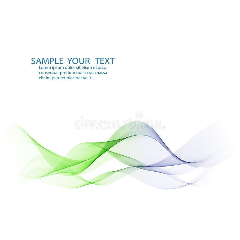 Αφηρημένο διανυσματικό υπόβαθρο, μπλε και πράσινες κυματισμένες γραμμές για το φυλλάδιο, ιστοχώρος, σχέδιο ιπτάμενων απεικόνιση αποθεμάτων