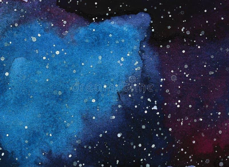 Αφηρημένο διαστημικό υπόβαθρο watercolor, ζωγραφική γαλαξιών Watercolor στοκ φωτογραφία