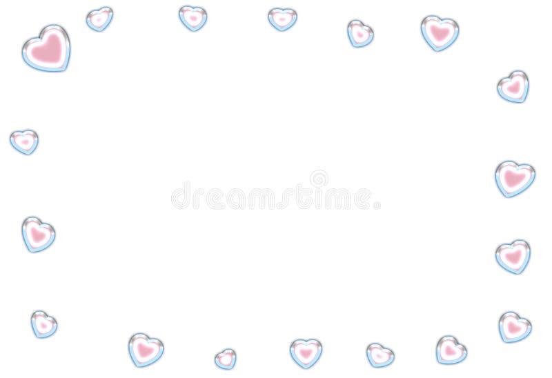 Αφηρημένο διαφανές μπλε καρδιών πλαισίων με τη ρόδινη ευχετήρια κάρτα διακοσμήσεων κεντρικού ογκομετρική, εορταστική αέρα ελεύθερη απεικόνιση δικαιώματος