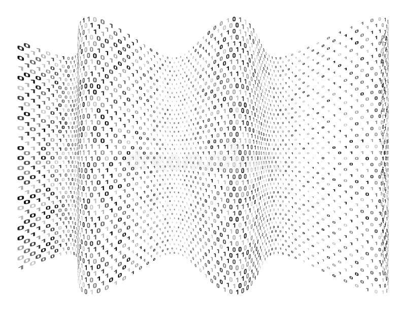 Αφηρημένο δυαδικό κύμα Ψηφιακός κώδικας υπολογιστών ροής στο άσπρο υπόβαθρο διανυσματική απεικόνιση