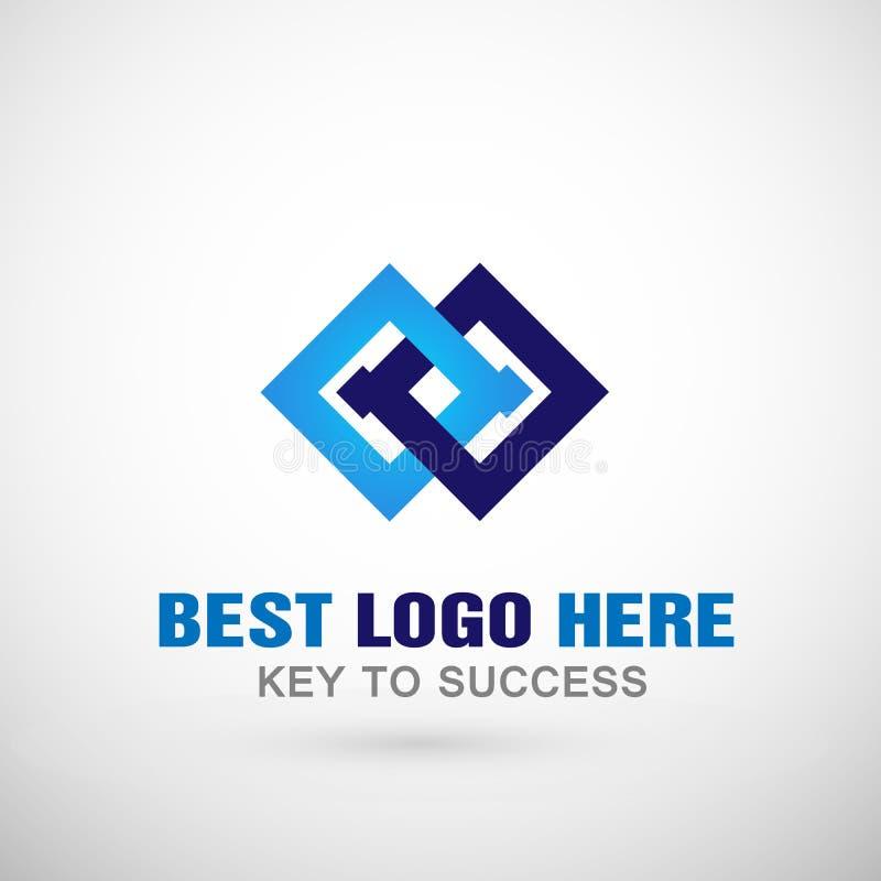 Αφηρημένο δύο τετραγωνικό λογότυπο, επιτυχία στο εταιρικό επιχειρησιακό λογότυπο έννοιας επικοινωνίας συνδέσεων για την επιχείρησ ελεύθερη απεικόνιση δικαιώματος