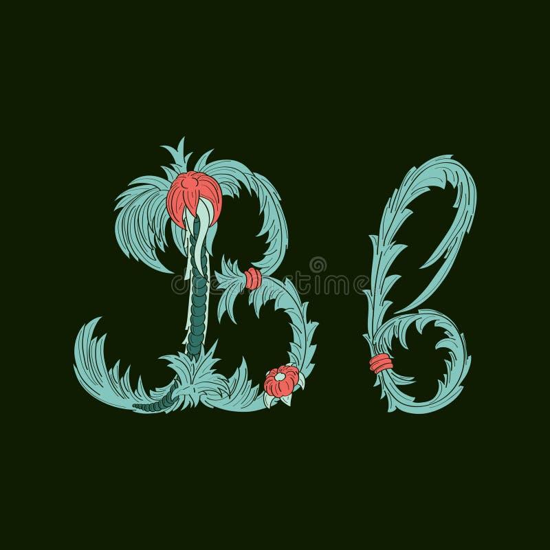 Αφηρημένο εικονίδιο λογότυπων γραμμάτων Β στο μπλε τροπικό ύφος διανυσματική απεικόνιση