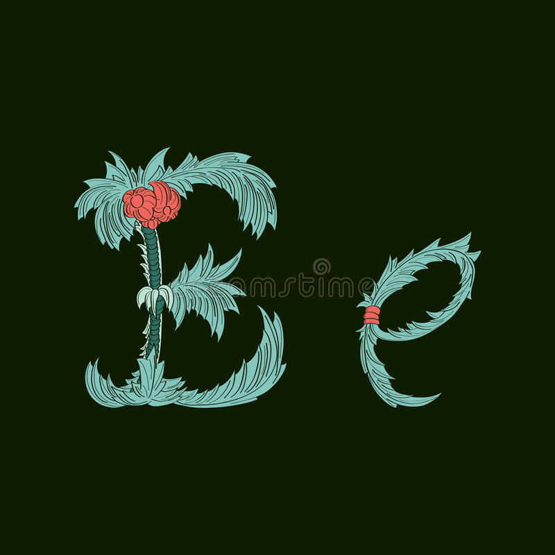Αφηρημένο εικονίδιο λογότυπων γραμμάτων Ε στο μπλε τροπικό ύφος διανυσματική απεικόνιση