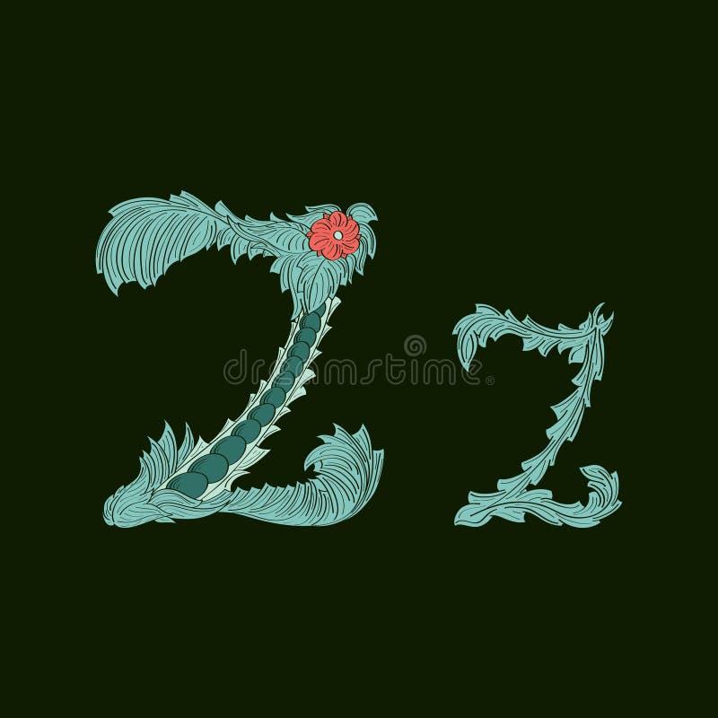 Αφηρημένο εικονίδιο λογότυπων γραμμάτων Ζ στο μπλε τροπικό ύφος ελεύθερη απεικόνιση δικαιώματος