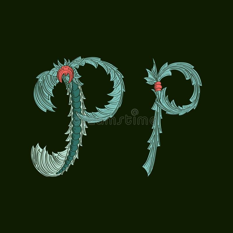 Αφηρημένο εικονίδιο λογότυπων γραμμάτων Π στο μπλε τροπικό ύφος διανυσματική απεικόνιση