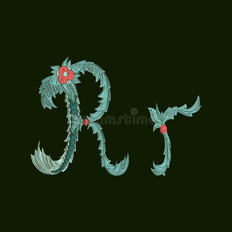 Αφηρημένο εικονίδιο λογότυπων γραμμάτων Ρ στο μπλε τροπικό ύφος ελεύθερη απεικόνιση δικαιώματος