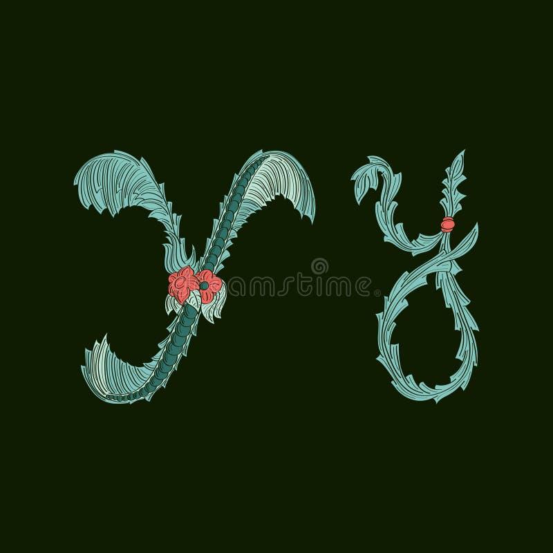 Αφηρημένο εικονίδιο λογότυπων γραμμάτων Υ στο μπλε τροπικό ύφος διανυσματική απεικόνιση