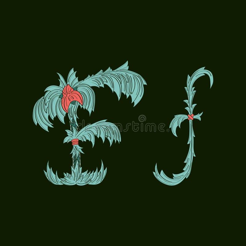 Αφηρημένο εικονίδιο λογότυπων γραμμάτων Φ στο μπλε τροπικό ύφος απεικόνιση αποθεμάτων