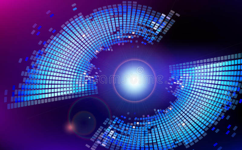 Αφηρημένο εικονικό διαστημικό υπόβαθρο τεχνολογίας φλογών φακών διανυσματική απεικόνιση