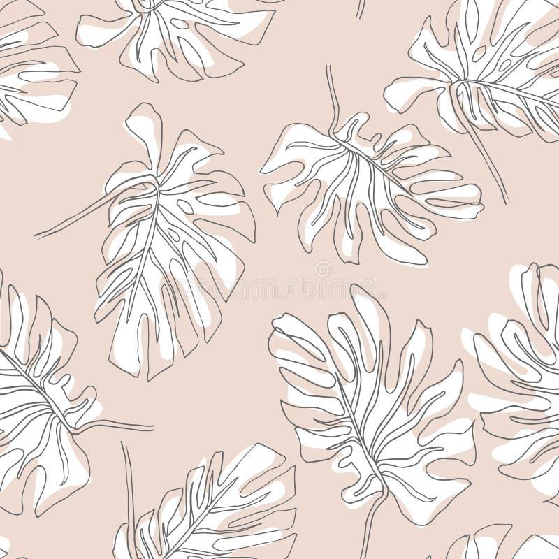 Αφηρημένο εξωτικό άνευ ραφής σχέδιο φύλλων Συρμένο χέρι τροπικό θερινό υπόβαθρο: Monstera Philodendron, περιγράμματα φύλλων φοινι διανυσματική απεικόνιση