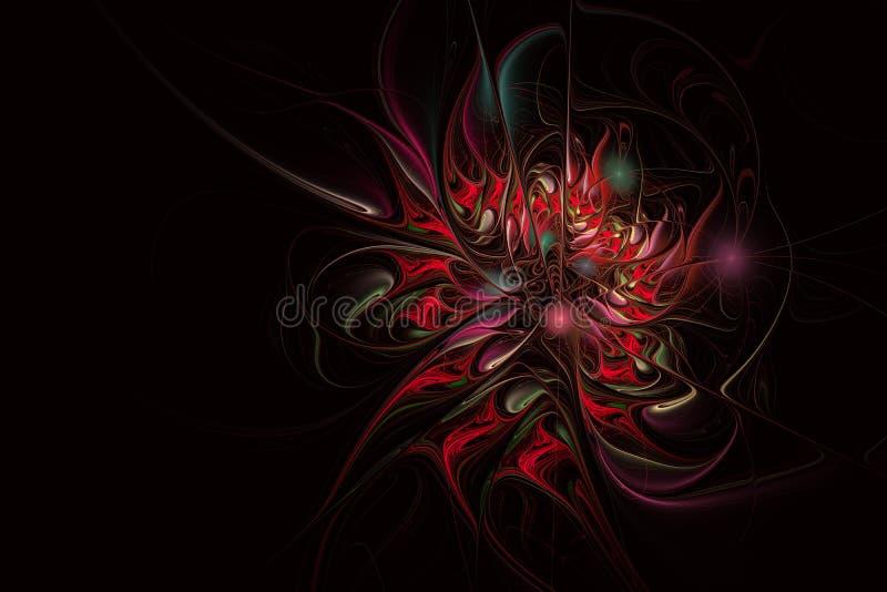 Αφηρημένο εξωτικό λουλούδι με τα κατασκευασμένα πέταλα Κομψό fractal λουλούδι διανυσματική απεικόνιση