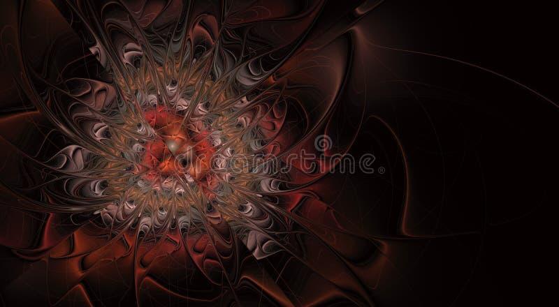 Αφηρημένο εξωτικό λουλούδι με τα κατασκευασμένα πέταλα Κομψό fractal λουλούδι ελεύθερη απεικόνιση δικαιώματος