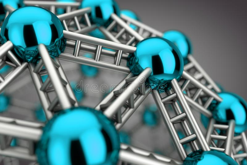 Αφηρημένο επιστημονικό μόριο ή άτομο μετάλλων τρισδιάστατη απόδοση διανυσματική απεικόνιση