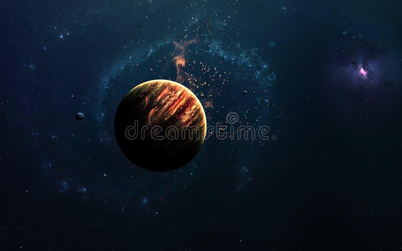 Αφηρημένο επιστημονικό υπόβαθρο - πλανήτες στο διάστημα, το νεφέλωμα και τα αστέρια Στοιχεία αυτής της εικόνας που εφοδιάζεται απ στοκ εικόνα