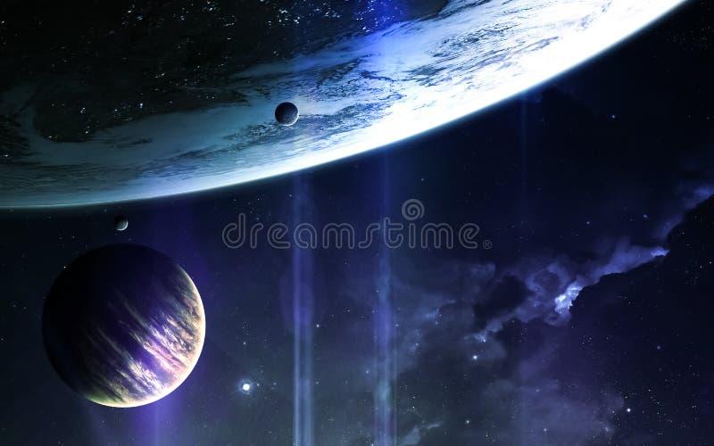 Αφηρημένο επιστημονικό υπόβαθρο - πλανήτες στο διάστημα, το νεφέλωμα και τα αστέρια Στοιχεία αυτής της εικόνας που εφοδιάζεται απ στοκ εικόνες