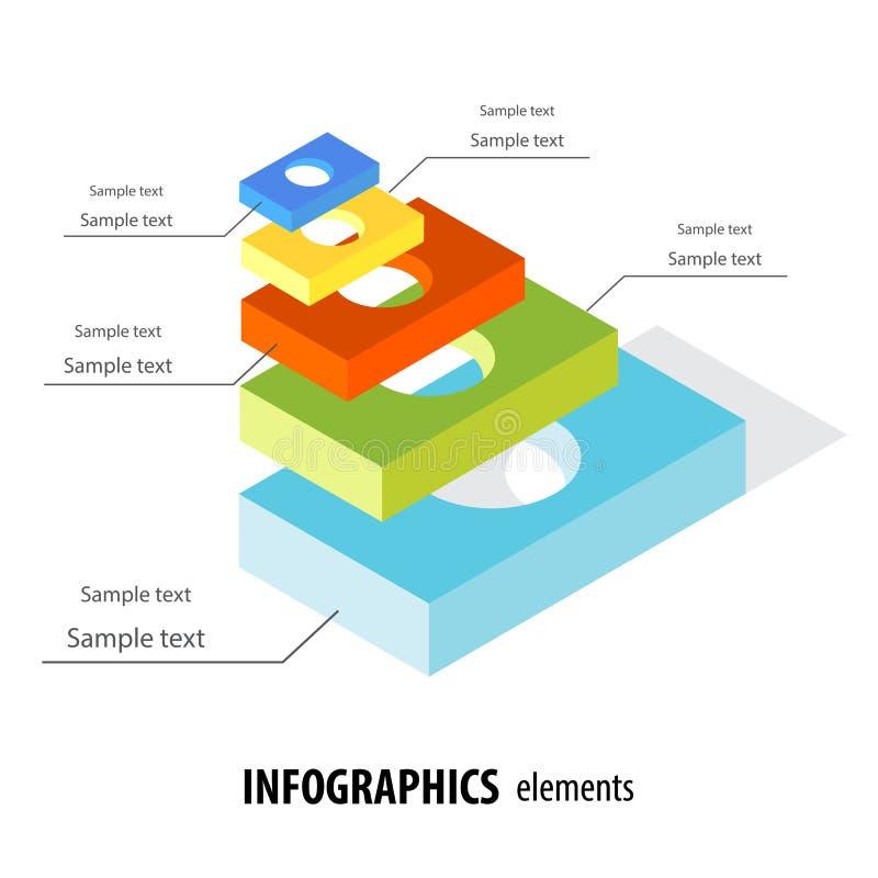 Αφηρημένο επιχειρησιακό infographics με το ελαφρύ ζωηρόχρωμο τρισδιάστατο horiz πέντε διανυσματική απεικόνιση