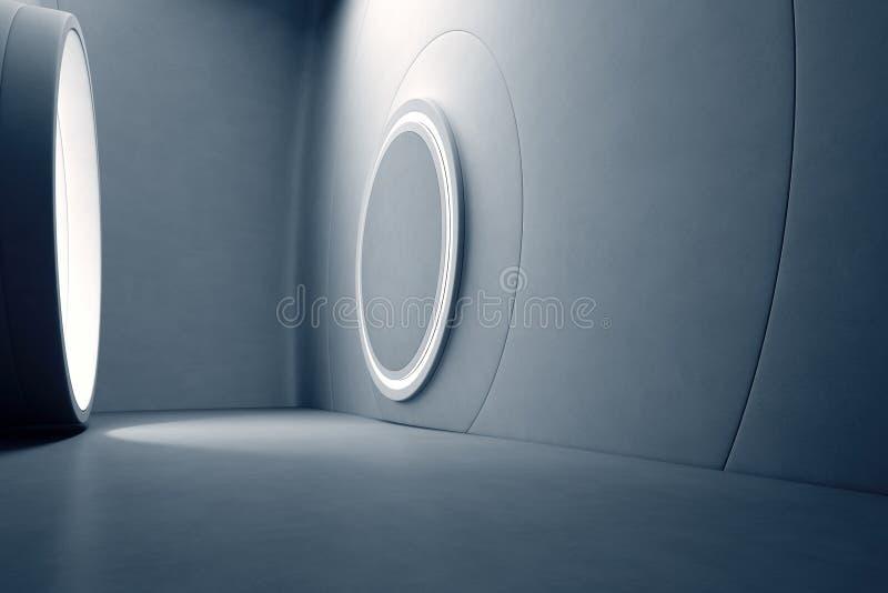 Αφηρημένο εσωτερικό σχέδιο της σύγχρονης αίθουσας εκθέσεως με το κενό γκρίζο τσιμεντένιο πάτωμα και το σκοτεινό υπόβαθρο τοίχων Τ στοκ εικόνες
