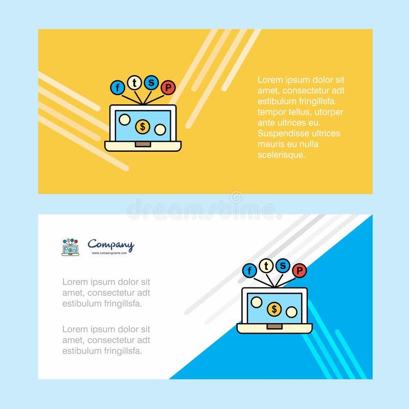 Αφηρημένο εταιρικό πρότυπο επιχειρησιακών εμβλημάτων lap-top, οριζόντιο επιχειρησιακό έμβλημα διαφήμισης απεικόνιση αποθεμάτων