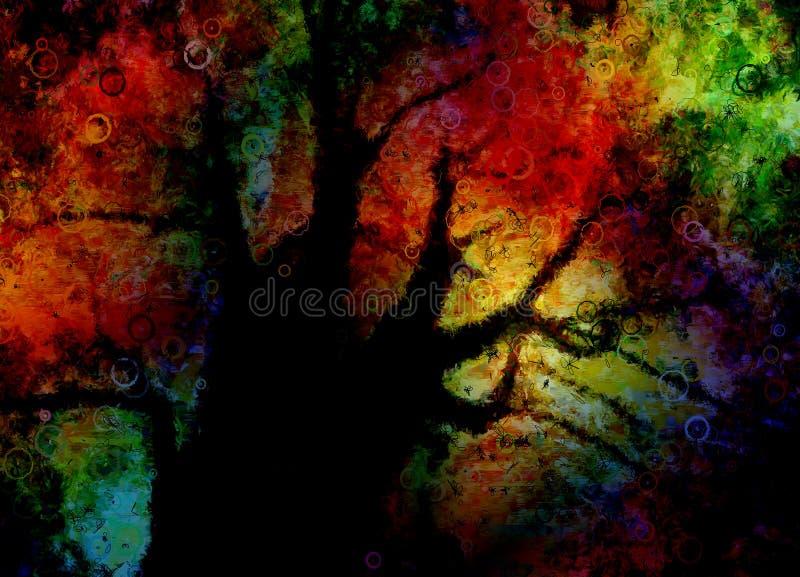 αφηρημένο ζωηρόχρωμο διάνυσμα δέντρων απεικόνισης ελεύθερη απεικόνιση δικαιώματος