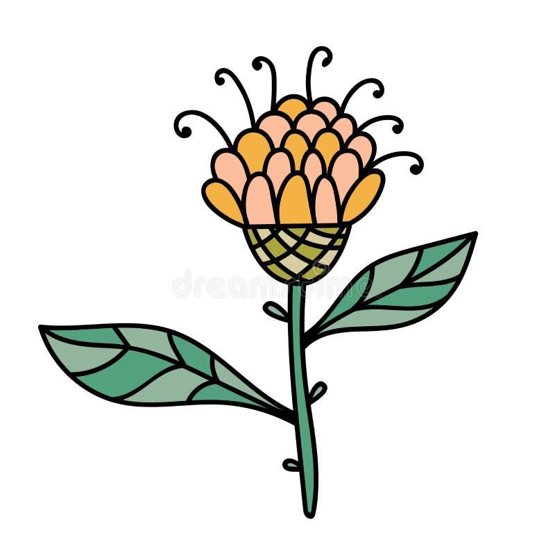 Αφηρημένο ζωηρόχρωμο λουλούδι φαντασίας Doodle Συρμένο χέρι λουλούδι που απομονώνεται ελεύθερη απεικόνιση δικαιώματος